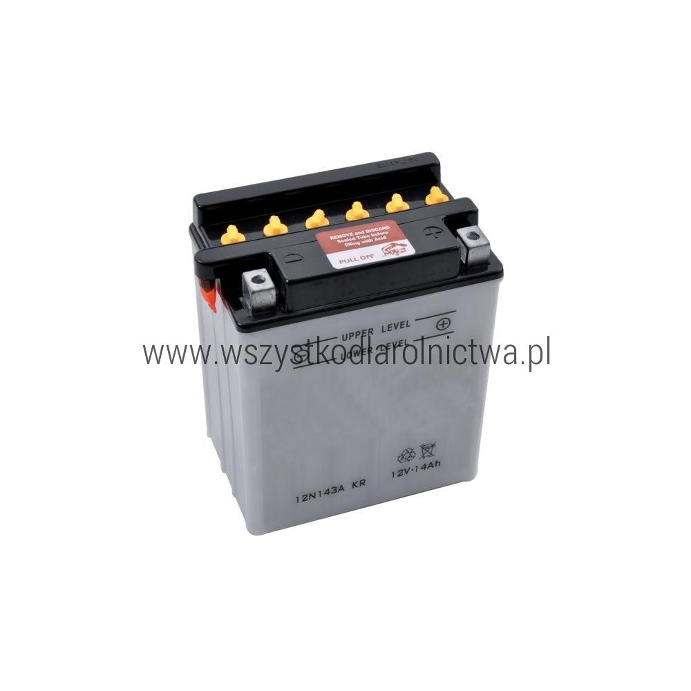 12N143AKR Akumulator motocyklowy, 12 V, 14 Ah, z elektrolitem