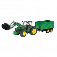 U03055 Traktor John Deere z ładowaczem i przyczepą
