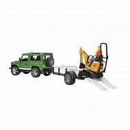 U02593 Samochód Land Rover z lawetą i minikoparką JCB 8010 CTS
