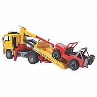 U02750 Pojazd holowniczy MAN TGA z platformą najazdową z samochodem terenowym