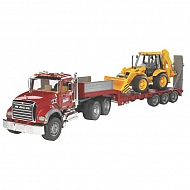 U02813 Samochód ciężarowy Mack Granite z naczepą niskopodwoziową i koparko-ładowarka JCB