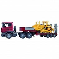 U03555 Ciężarówka Scania z naczepą i buldożerem CAT