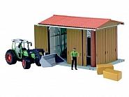 U62620 Zestaw garaż, Traktor z ładowaczem i figurka farmera
