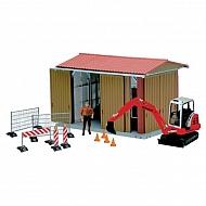 U62020 Zestaw garaż z figurką mężczyzny, koparką i akcesoriami bworld