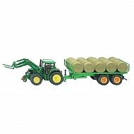 S03862 Traktor John Deere 6820 z przyczepą do przewozu bel