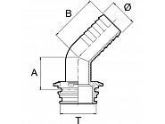 1193530 Tuleja wkładana T5 30 mm 45°