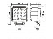 16-LED lampa robocza, 48W, 3600 Lm, 9-32V, 16 LED Promocja