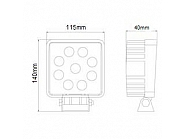 9-LED lampa robocza, 27W, 2200 Lm, 9-32V, 9 LED Promocja