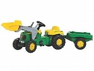 R02311 Traktor RollyKid John Deere z ładowaczem i przyczepą