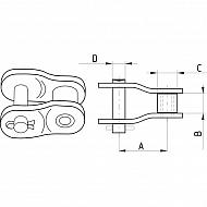 """8020K2517D12 Półogniwo wygięte, podwójne Steel Power, 1"""" x 17,02 mm K2517D"""