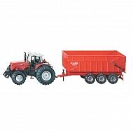 S01844 Traktor Massey Ferguson z przyczepą, SIKU