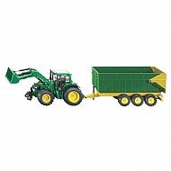 S01843 Traktor John Deere z ładowaczem i przyczepą, SIKU