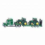 S01837 Ciężarówka z naczepą i dwoma Traktorami John Deere, SIKU