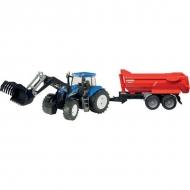 U09035 Zabawka traktor New Holland T8040 z ładowaczem czołowym i przyczepą