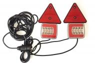 Zestaw lamp, świateł LED 25 na magnes, trójkąt + przewód 7,5 m, 12-24V