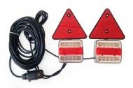 Zestaw lamp, świateł LED (B/CZ) na magnes, trójkąt + przewód 7,5 m